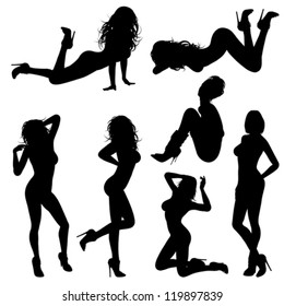 Silhouettes Sexy Girl in various Poses, isolated on white background. Isolated vector illustration.
