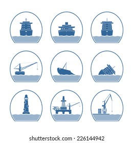 Silhouettes of ships and marine structures.  Vector illustration. EPS10. Opacity.