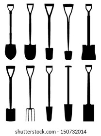 Silhouettes of shovels on white background, vector illustration