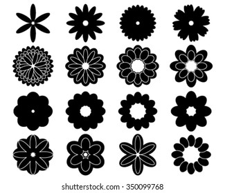 Silhouettes of simple vector flowers