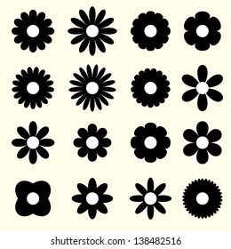 silhouettes of simple vector flowers. set. eps8
