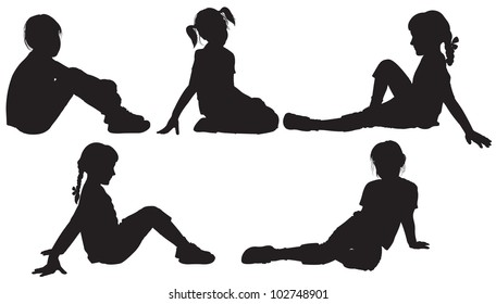 Silhouettes of sitting girls