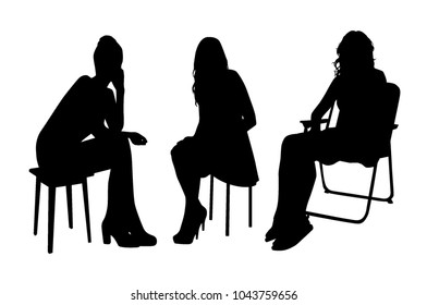 Silhouettes of sitting people