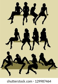 silhouettes of sitting women