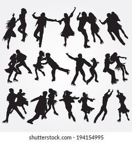 Silhouettes of skaters on a white background. Set of icons. EPS 10.