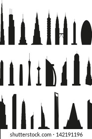 silhouettes of skyscrapers