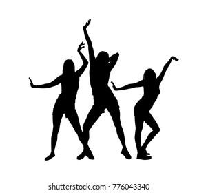 Silhouettes of slender dancing girls