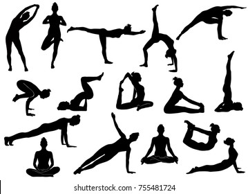 Silhouettes of slim girl practicing yoga stretching exercises. Shapes of woman doing yoga fitness workout. Set of yoga positions.