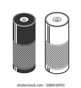 Silhouettes of smart speaker. Isometric illustration