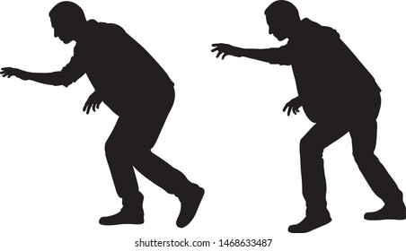 silhouettes of sneaky thieves isolated