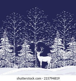 Silhouettes of snowy trees and fir trees in the forest and reindeer on a dark blue background