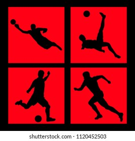 Silhouettes of soccer players vector