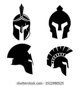 Silhouettes spartan helmet isolated from the background. Vector set of roman or greek warrior helmet.