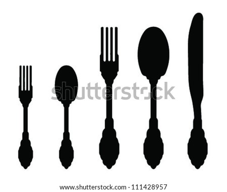 Silhouettes Spoon Fork Knife 2 Vector Stock Vector Royalty Free