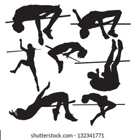 silhouettes of sportsmen of a high jump