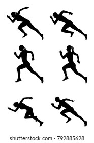 Silhouettes of sprinters set on white background.