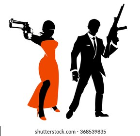 Silhouettes of spy couple. Woman with weapon in red dress, gangster person. Vector illustration characters