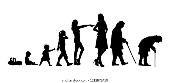 silhouettes of stages of a woman's life. Vector