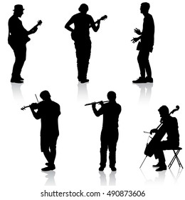 Silhouettes street musicians playing instruments. Vector illustration.