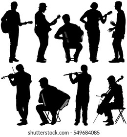 Silhouettes street musicians playing instruments. Vector illustration