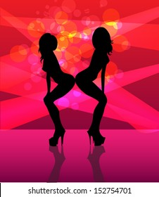 Silhouettes striptease dancing girls