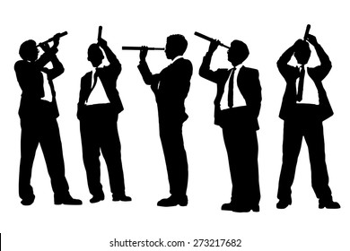 Silhouettes of successful Business man with telescope ( spyglass ) looking forward Prospects for future in full length isolated on white background