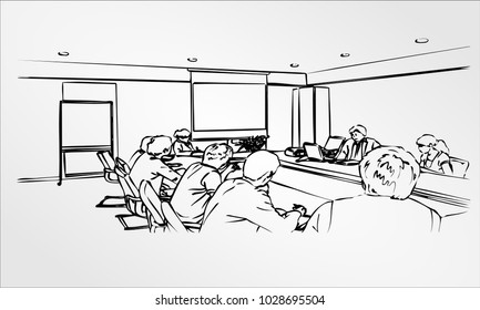 Silhouettes of successful business people working on meeting office. Sketch Freehand drawing Hand Draw vector Illustration