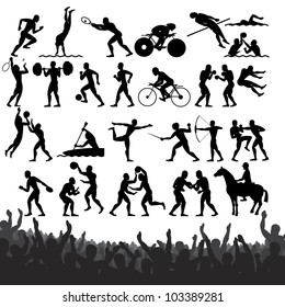 Silhouettes of Summer Olympic Sport. Vector Design Clip Art