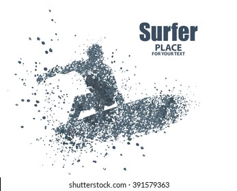 silhouettes of surfers particle divergent composition, vector illustration.