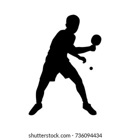 Silhouettes of table tennis player Vector on white