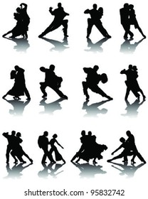 Silhouettes of tango players with shadows ,vector