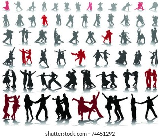 Silhouettes of tango players with shadow-vector