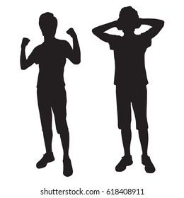 Silhouettes teenager who is clenching his fists,his hands behind his head , black color, isolated on white background