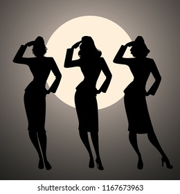 Silhouettes of three army girls in retro style doing military salute and full moon or sun on the background