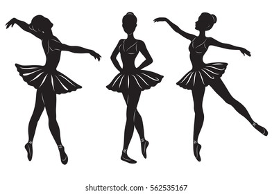The silhouettes of three ballerinas isolated on a white background. Vector illustration