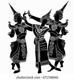 Silhouettes of three dancers. Thailand dancer. Dance.