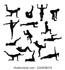 Silhouettes of training women doing common sport exercises