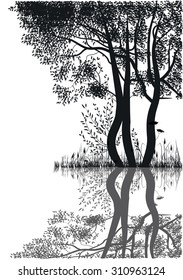 silhouettes of trees by the lake