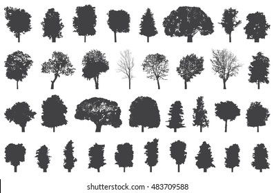 silhouettes of trees vector set