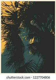 Silhouettes of Tropical Palm Trees. Vector illustration