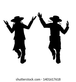 silhouettes of two dancing Jews, for a Jewish holiday Lag BaOmer. Without background, isolated