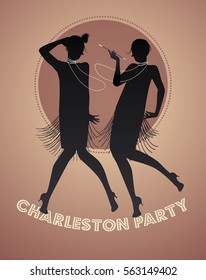 Silhouettes of two flapper girls dancing charleston. Vector illustration