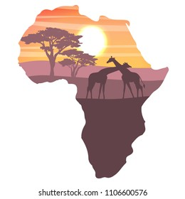 Silhouettes of two giraffes in the African savannah. Realistic vector landscapes in the form of a map of continent of Africa. The nature of Africa. Reserves and national park