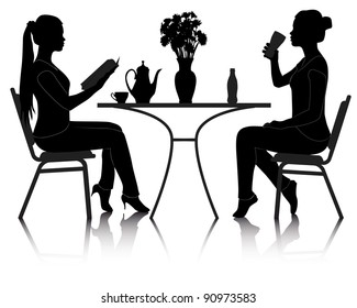 silhouettes of two girls at a table in a cafe on a white background