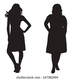 silhouettes of two girls thick and slender on a white background
