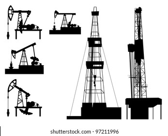 Silhouettes of units for oil industry(oil pump).