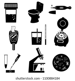 Silhouettes of urine test analysis and medical laboratory equipment. Black and white vector illustration. Laboratory icons set