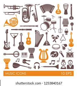Silhouettes of various musical instruments in flat style