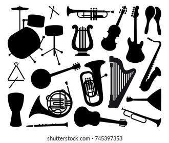 Silhouettes of various musical instruments. Vector illustration