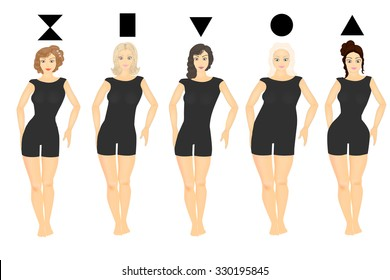 52e2b36ae Silhouettes of various types of female figures. Female body types. Body  shape